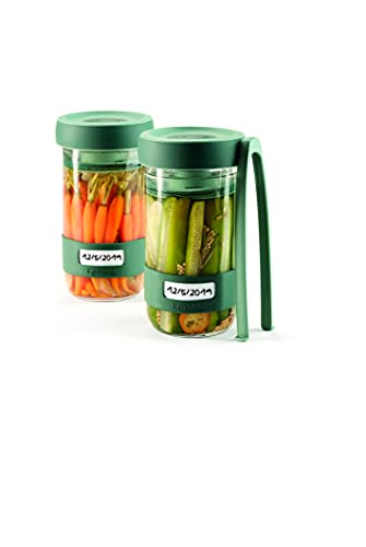 Lékué Kit di utensili per preparare sottaceti, con contenitore di capacità 700 ml, verde, unico