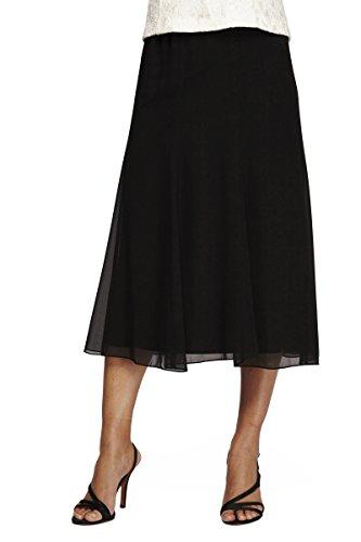 Alex Evenings Women's Tea Length Dress Skirt (Petite Regular Plus Sizes), Black, 1X