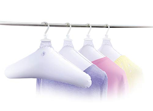 UPP Kleiderbügel aufblasbar 4 Stück für Hemden, Blusen, Shirts etc. | Platzbarende Reisebügel ideal für unterwegs | Luftkleiderbügel trocknet Ihre Wäsche schneller (weiß)