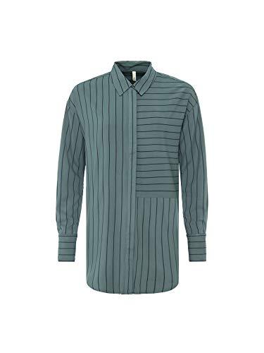 Pepe Jeans hemd, lange mouwen, katoen, gestreept, lange pasvorm, contrasterende druk, sluiting met deksel en verborgen knoppen - brede manchetten PL303209 - Eclipse - dames