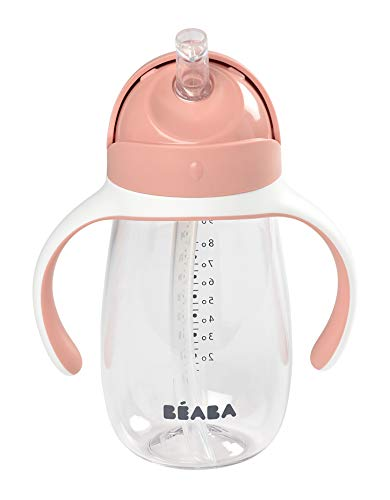 BÉABA Vaso de Aprendizaje con Boquilla para Bebe, Biberón 100 % hermético, Taza Antigoteo con pajita, Antiderrame, 2 en 1, Asas extraíbles, Resistente, Tritan y silicona, 300ml, Rosa
