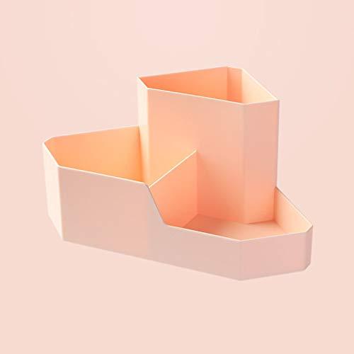 SUZONC Caja De Almacenamiento Cosmético Estante De Escritorio Escritorio De La Esquina De La Casa Papelería Artículos Diversos Estante De Acabado Lápiz Labial Caja De Maquillaje Rosa 22 * 10 Cm