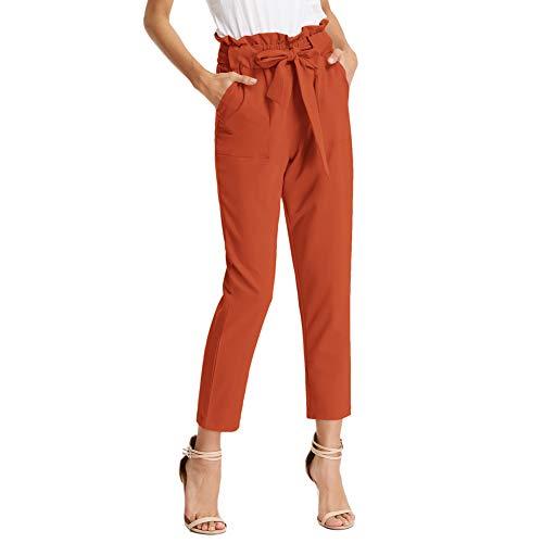 GRACE KARIN Donna Pantaloni a Matita a Vita Alta con Cintura Elasticizzata Casual Traspirante Comede Arancione 2XL CLAF1011-20
