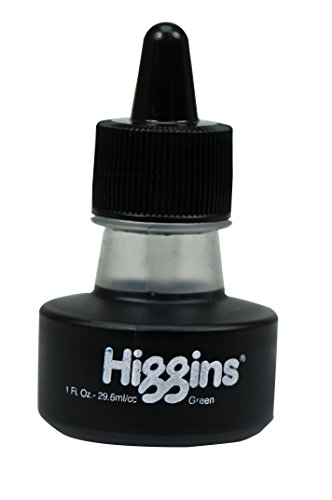Higgins Pigmented Drawing Ink, Green, 1 Ounce Bottle (44695)