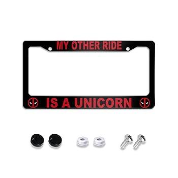Wahom License Plate Frame My Common Sense is Tingling Black Metal License Plate Frame Deadpool