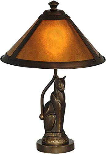 Lámpara de mesa de estilo retro clásico, acabado oscuro, bronce antiguo