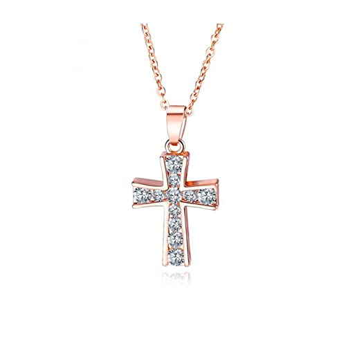 chenyueshangmao Collar Colgante Trendy All Match Jewelry All Match Collar de Diamantes de Oro Rosa para Mujer Adornos Simples de Moda Colgante de Temperamento de Personalidad Collar Amistad Regalo
