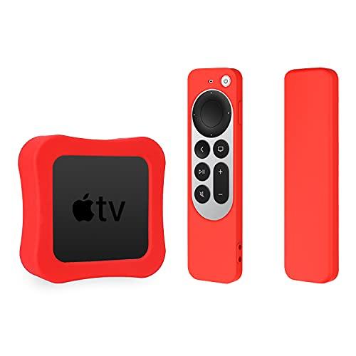 Funda de silicona para Apple TV 4K 2021 y funda de silicona para Siri Remote 2 Pack Funda protectora (rojo)