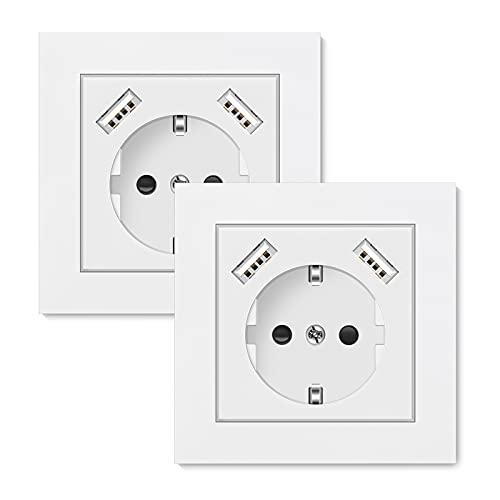 2 X Enchufe de pared, Altopbum Schuko Enchufe con USB 3.4A Blanco Tomas de Corriente Pared para Smartphone MP3 Viaje Hogar Oficina, Profundidad de la Base Solo 32mm