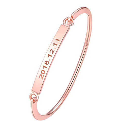 U7 Customize Your Own Text, Minimalist Bangle Skinny Thin Bracelet Copper 18K Gold/Rose Gold Personalized Message Bangle Custom Words Stacking Mantra Jewelry (Rose Gold (Personalized))