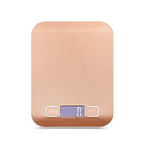 Jkckha Escala de pesaje digital 10kg / 5kg Acero inoxidable Escala de cocina dieta dieta balance postal herramienta de medición LCD básculas electrónicas (Color : Rose gold, Load Bearing : 10Kg)