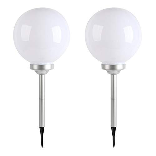 Lot de 2 boules solaires lumineuses à piquer balisage d'allée LED blanc MOONY ∅30 cm