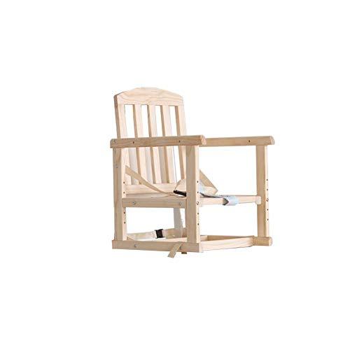 YLCJ hoge stoelen voor baby's, tafelstoelen, eettafelstoelen van massief hout, voor kinderen, multifunctioneel, draagbaar, kan aan de stoel worden bevestigd (kleur: hout coior, maat: volledig van massief hout) Hollow Wood Coior
