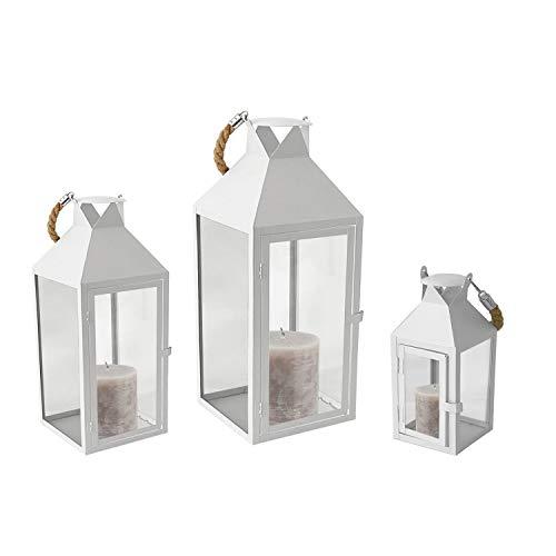 Mojawo® 3er Set XXL Gartenlaterne Metall Windlicht Laternen Kerzenhalter Set Höhe 25/40/51cm mit Seilgriff weiß
