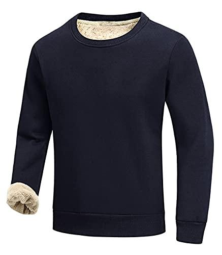 Gihuo Men's Warm Crewneck Sherpa Lined Fleece Sweatshirt Pullover Tops (Navy, L)