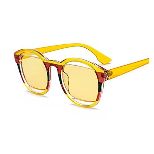 ZHHOOHAG Gafas De Sol Oval Gafas de Sol Mujeres Revestimiento Retro Sun Gafas Hombre Vintage Retro Retro Glasses UV400 Gafas De Sol Polarizadas (Lenses Color : Yellow)