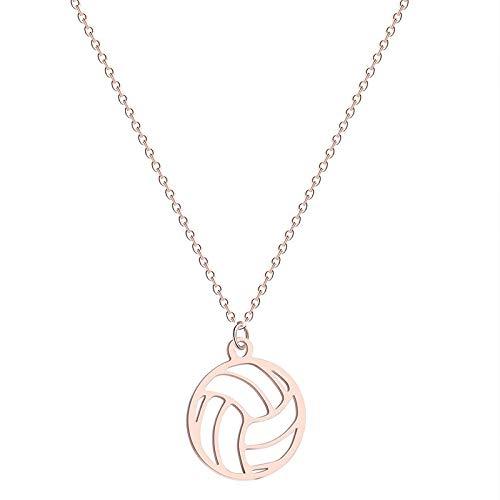 AMTBBK Runde Kleiner Volleyball-Anhänger-Halskette, Männer Und Frauen Halskette, Sport-Thema-Hängende Halskette, Geschenke Für Fans,Rose Gold