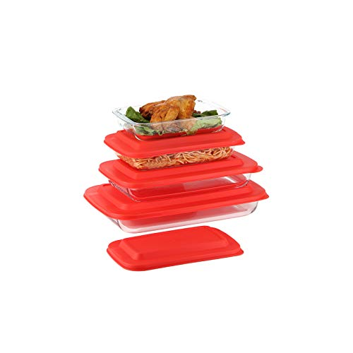 Doonmi- 4 Pack Classic Glass Baking Dish with Red Lid(1 Quart,1.6 Quart, 2.2 Quart and 3 Quart), Freezer-to-Oven Safe Baking Dishes, BPA-Free Lids, Perfect for Cooking, Cake Dinner, Banquet and Daily Use.