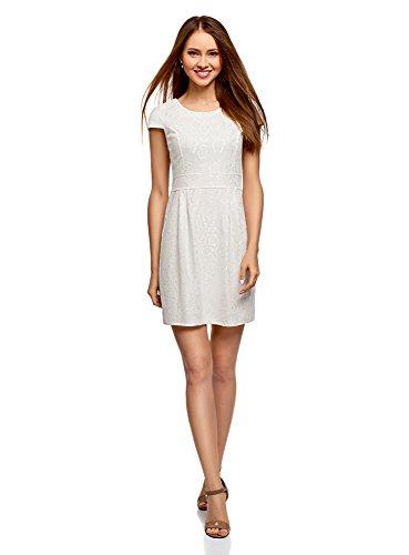 oodji Ultra Damen Tailliertes Kleid mit Spitze, Weiß, DE 38 / EU 40 / M