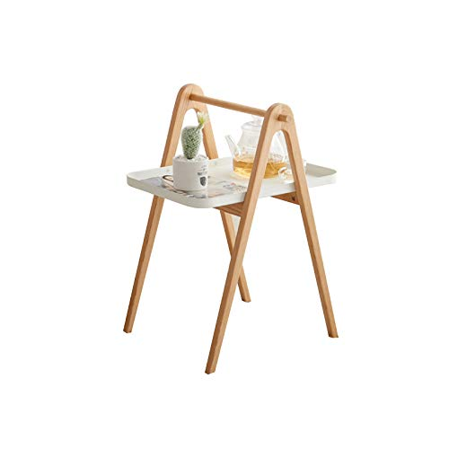 QINGZHUO Wooden Coffee Side Tables,Metal table top with oak stand Easy Assembly Office Furniture.