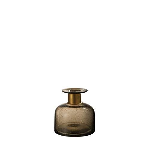 vaas, laag, glas en metaal, 13 x 13 x 13 cm, bruin en goud