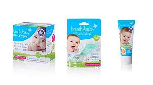 Brush-Baby - Juego de cuidado dental para bebés, etapa 1 nacimiento, primeros dientes, 0-36 meses, limpieza suave de la boca y las encías del bebé, paquete de toallitas dentales, cepillo de dientes masticable y pasta dental