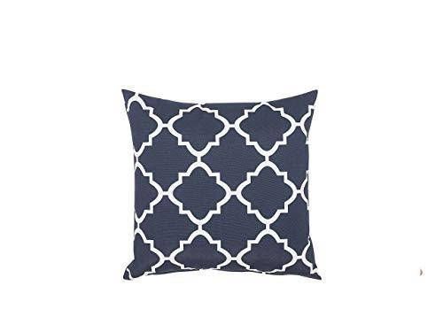 Beliani Cuscino da Giardino in Tessuto con Motivo Marocchino Bianco e Blu 40 x 40 cm