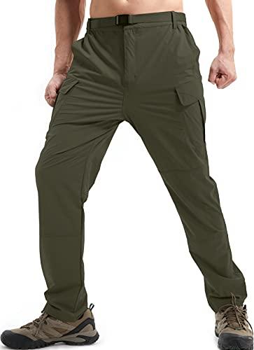 DAFENP Pantaloni da Lavoro Trekking Uomo Elastico Pantaloni Cargo Uomo Estivi Pantaloni Montagna Leggero Traspirante Asciugatura Rapida All'aperto KZ511M-ArmyGreen-S