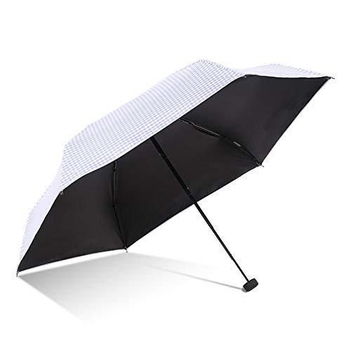 LELVZE Schnelltrocknender Sonnenschirm Full Blackout Yag Schwarzer Kunststoff-Sonnenschutzschirm Kleiner, fünffach gefalteter Regenschirm Exquisiter Stil Schwarzer 50-cm-Regenschirm (Color : Purple)