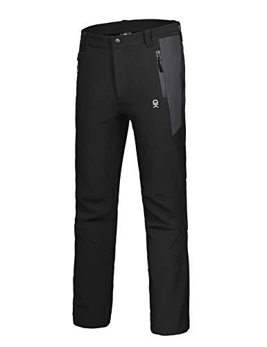 Little Donkey Andy Men's Winter Hiking Ski Snowboarding Pants Windproof Softshell Pants Black Size L