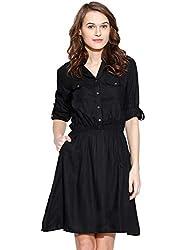 Amayra Womens Rayon A-Line Dress(Black)