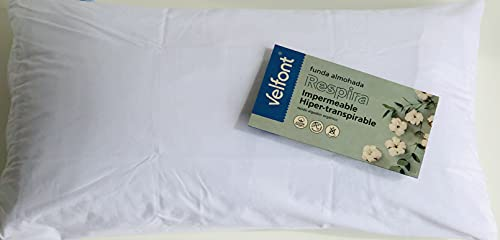 Pack SEASONS - VELFONT - Almohada + Funda Impermeable Transpirable. Almohada de Fibra antiácaros extrasuave para niños. Funda de Almohada Impermeable Transpirable antiácaros. (90)