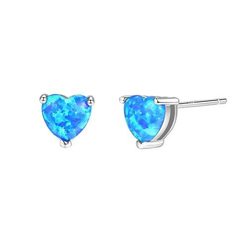 Adokiss Jewellery Earrings Silver 925 Women's Earrings Wedding Heart Created Opal Birthday Gift for Mum Birthday Gift for Sister Birthday Gift for Best Friend blue
