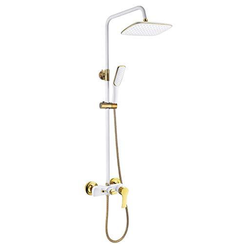 XIONGDA Badezimmerdusche-Mixer-Set-Quadratischer Doppelkopfduschen-Wasserhahn-Porzellan weiße Farbe, Duschmixer, quadratische Dusche, Handdusche