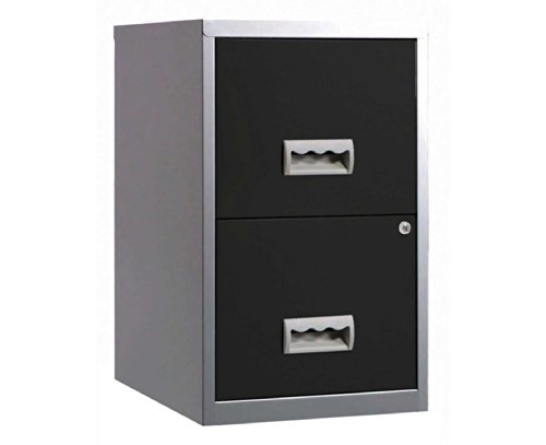 Pierre Henry 095808 A4 Steel Lockable 2 Drawers Filing Cabinet - Silver/Black