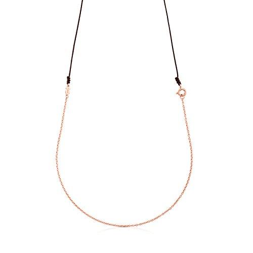 TOUS Collar cadena Mujer en oro rosa vermail de 18kt con cordon marrón, Largo 90 cm
