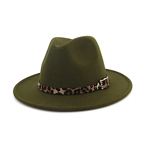 HUDANHUWEI Women's Wide Brim Felt Fedora Panama Hat with Leopard Belt Buckle Green
