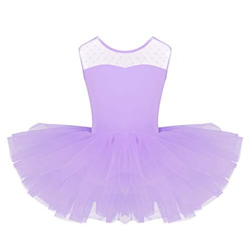 Freebily Tutú Vestido de Gimnasia Leotardo Bodies de Malla Elástico Niñas Princesas Bailarinas para Danza Ballet Actuación de Baile Light Purple 8Años