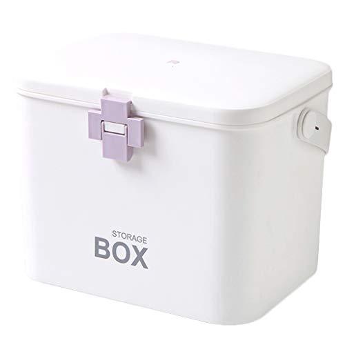 Leileixiao Pill Box Caja de almacenamiento de medicina PP Caja de medicina para el hogar 31 x 20 x 22 cm (color: púrpura)