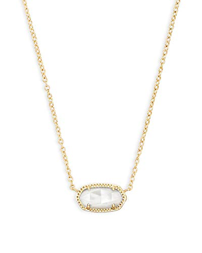Kendra Scott Elisa Short Pendant Necklace for Women, Dainty Fashion Jewelry, 14k Gold Plated, Ivory Mother of Pearl