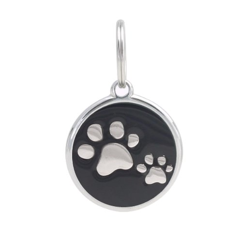 PetTouchID - Smart Dog ID Tags, QR Code, Online Pet Page, GPS Location (Paws (Black), Regular (30mm))
