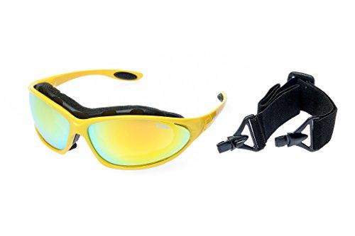 Ravs Leichte Unisex Sportbrille Skibrille mit Band und Büge für Allwetter ! (Gelb)