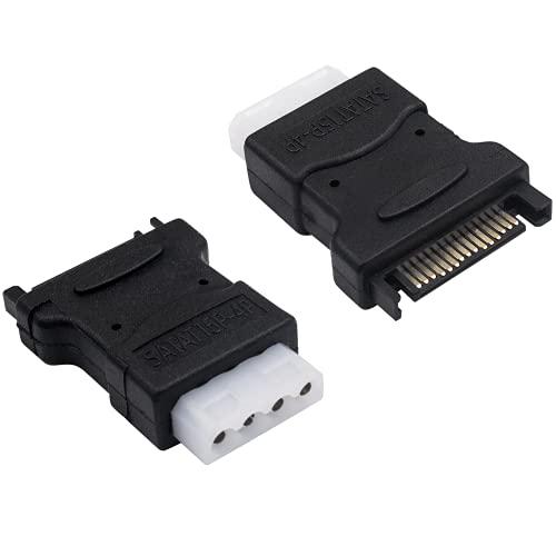 Duttek Adaptador de corriente Molex a SATA, 4 pines hembra IDE Molex a SATA 15 pines macho adaptador convertidor para cables de alimentación SATA PC Power Disco duro HHD/SSD/DVD RW, paquete de 2
