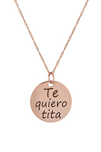Córdoba Jewels   Gargantilla en Plata de Ley 925 bañada en Oro Rosa. Diseño Te Quiero TITA