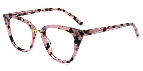 Firmoo Blaulichtfilter Brille Damen ohne Sehstärke Katzenaugen, Acetate Cateye Computerbrille gegen Kopfschmerzen, Pink Blaulicht Schutzbrille Blendfrei Kratzfest, Mittelgröße