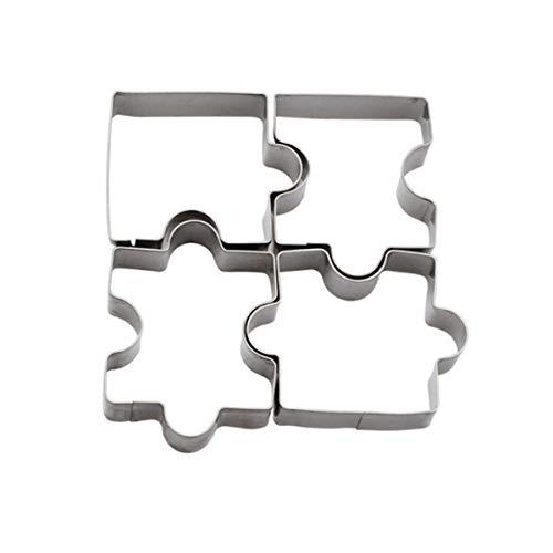 Affe 4piezas DIY molde para galletas de acero inoxidable Forma de puzzle cortador de galletas conjunto diy Biscuit mold