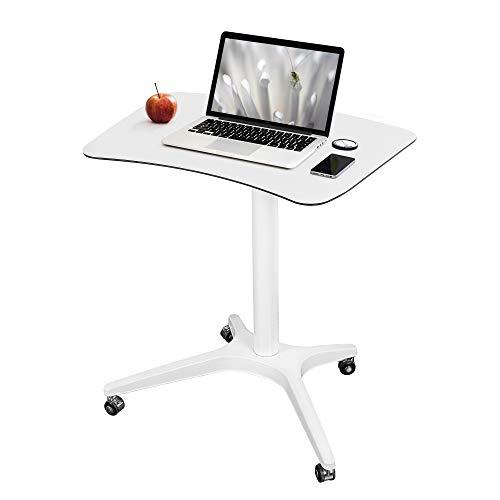 Pneumatic Adjustable Height Desk Mobile Desk White Adjustable Standing Desk Mobile Laptop Desk Cart 26' 18' Platform (27.5' to 45.3' H),White