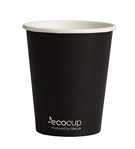 Vasos de Café Desechables, Biodegradables y Compostables- 50Uds 400ml/ 12oz -Materiales 100% Ecológicos: Cartón Certificado FSC® Con Revestimiento de Bioplástico PLA Ingeo™ Negro