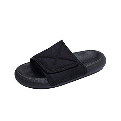 Herren Hausschuhe Casual Herren Hausschuhe Sommer Herren Schuhe Bequem Wild Outdoor Strand Schuhe Dicke Unterseite Anti-Rutsch Sandalen, Schwarz - Schwarz - Größe: 39 EU