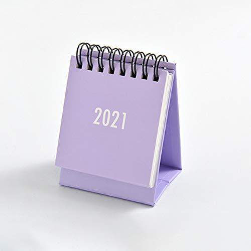 BinaryABC Small Desk Calendar 2021,Mini Monthly Desk Calendar Planner,Desktop Standing Flip Perpetual Calendar,New Year Party Supplies Gift(Purple)